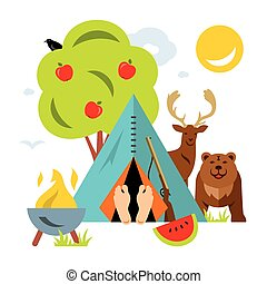 Vector Hunting Concept. Flat style colorful Cartoon illustration.