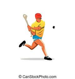 Vector hurling player Cartoon Illustration.