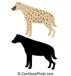 Vector hyena and silhouette - Vector illustration of hyena...