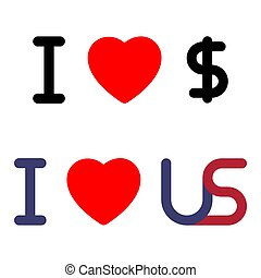 Vector I LOVE US symbol
