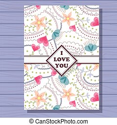 I love you card on wooden background