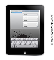 Generic touch screen i pad, sleek black grunge design with chrome trim. vector illustration