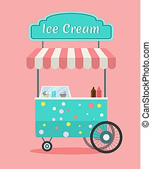 Vector ice cream cart - Vector Ice cream cart . Side view of...