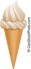 Ice Cream - Vector Ice Cream cone isolated on white...