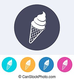 Vector ice cream icon on round colorful buttons