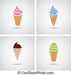 vector ice cream icons - vector collection of isolated...