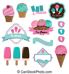 Vector Ice Cream Logo Badges and Labels