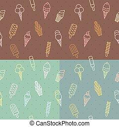 Vector ice cream pattern, seamless