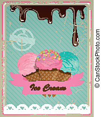 Vector Ice Cream Sign - Vector Illustration of a Vintage Ice...