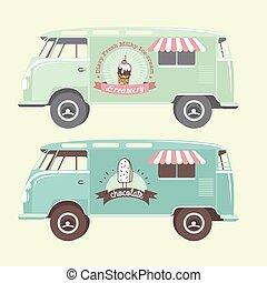 Vector ice cream truck.