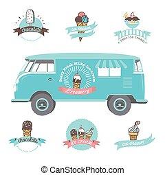 Set of vintage and modern ice cream shop logo badges and labels.