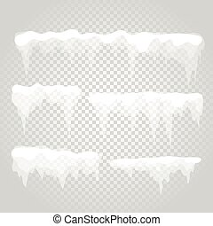 Vector icicle and snow elements. Different snow cap - Vector...