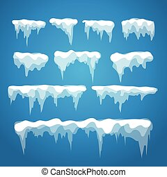 Vector icicle and snow elements on blue background. ...
