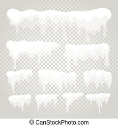 Vector icicle and snow elements on transparent background. ...