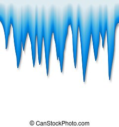 Vector icicle border. Ice cap isolated on white