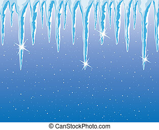 vector icicles and snowfall - vector background of shiny...