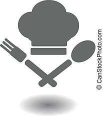 hat and crossed spoon and fork