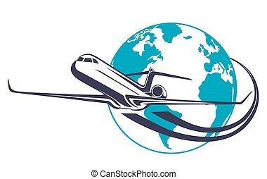Vector icon airplane and the planet Earth