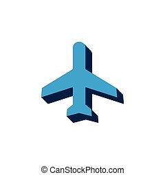 vector icon airplane isometric. 3d sign isolated on white background.