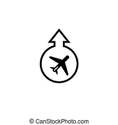 Vector icon, airport icon. Takeoff and landing of the aircraft. Isolated on white background.