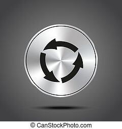 vector icon arrow circle metallic isolated on dark background