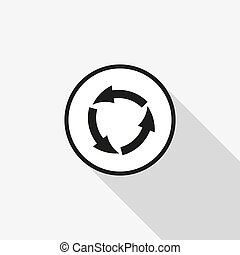 vector icon arrow circle with a long shadow on the background