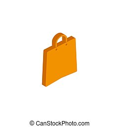 Vector icon bag isometric sign isolated on white background.