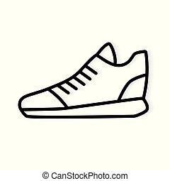 vector, icon-, black , illustratie, lopende schoen