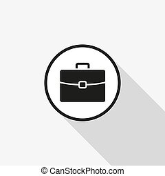 vector icon briefcase with a long shadow on the background