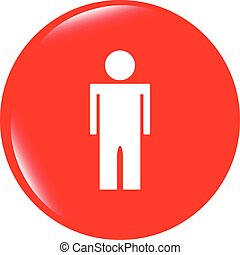 vector icon button with man inside