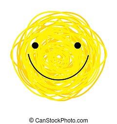 Vector icon cheerful yellow smiley