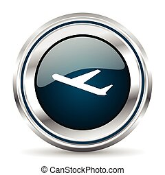 Vector icon. Chrome border round web button. Silver metallic pushbutton.