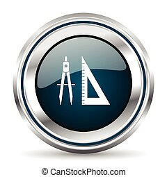 Vector icon. Chrome border round web button. Silver metallic pushbutton.