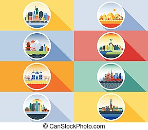 Vector icon circle flat style architecture buildings town...