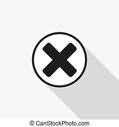vector icon close with a long shadow on the background