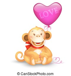 Vector icon - cute toy monkey holding a balloon in the shape...