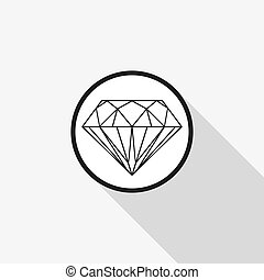 vector icon Diamond with a long shadow on the background
