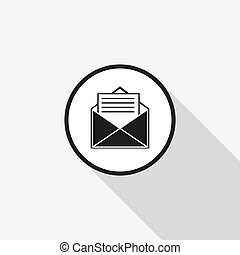 vector icon envelope with a long shadow on the background