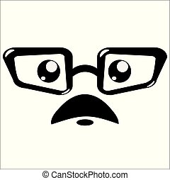 vector icon, eyeglasses and mustaches