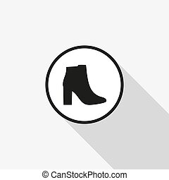 Vector icon female shoes with a long shadow on the background