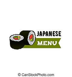 Vector icon for Japanese sushi restaurant menu - Japanese...