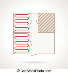 Flat color vector icon for project for heated floor installation on gray background