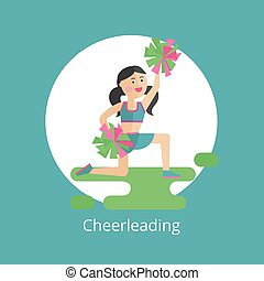 Vector icon. Girl - a cheerleader.