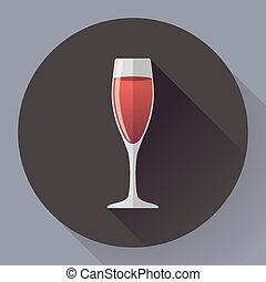 Vector icon - glass of red wine. Flat designed style