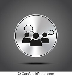 vector icon group of people metallic isolated on dark background