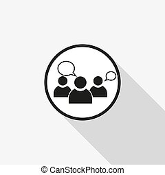 vector icon group of people with a long shadow on the background