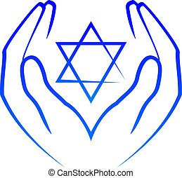 hands holdin star of David - Vector icon - hands holdin star...