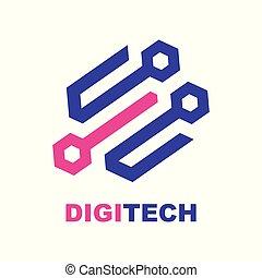 Vector icon, hi-tech company logo design, business symbol...