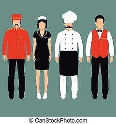 vector icon hotel service profession, cartoon worker uniform, room service