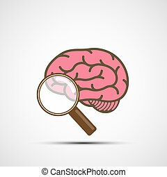 Vector icon human brain and magnifying glass - Icon human ...